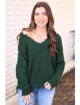 Best Of The Best Distressed Sweater  Dark Olive by Hazel & Olive