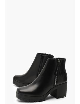 Zip Side Square Toe Chunky Shoe Boots by Boohoo