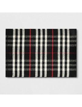 2'x3' Plaid Woven Accent Rug Black   Threshold™ by Threshold