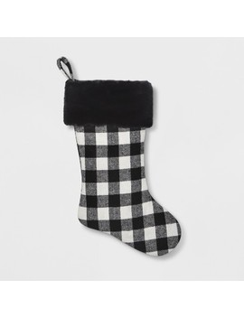 Holiday Stocking Plaid   White/Black   Threshold™ by Shop Collections
