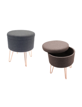 Modern Fabric Round Pouffe  Metal With Copper Legs Ottoman Storage Footstool by Ebay Seller
