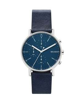 Signature Navy Blue Leather Chronograph Watch by Skagen