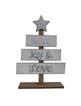 Wood Standing Sign Peace Joy Love White/Silver   Wondershop™ by Shop This Collection