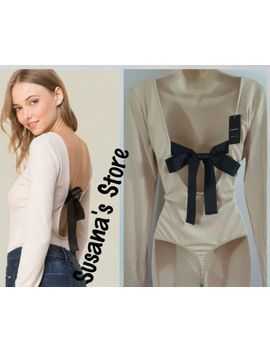 Nwt Bebe Back Ribbon Tie Bodysuit Size M Sexy Clingy Rib Knit, A Must Have!! by Bebe