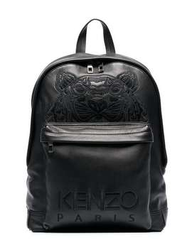 Black Tiger Logo Embroidered Leather Backpack by Kenzo