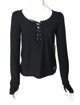 New! Bebe Sports Women's Athletic Top Large Black Ls Thumb Hole Lace Up Mesh $79 by Bebe
