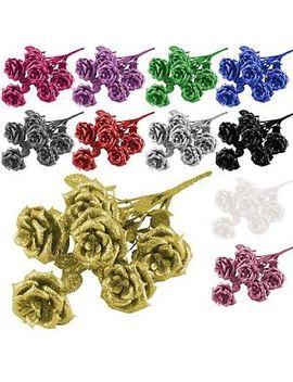 Heavy Glittered Small Bouquet   Artificial Glitter Flowers Glittery Silk Fake by Ebay Seller