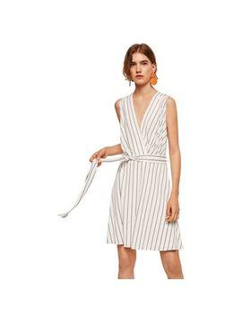Mango   White Striped 'crossed' V Neck Mini Wrap Dress by Mango
