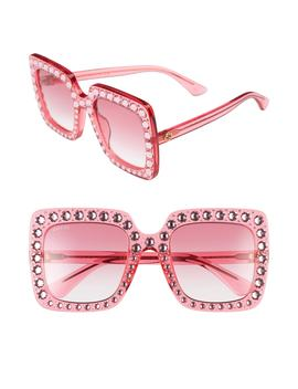53mm Crystal Embellished Square Sunglasses by Gucci