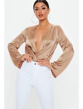 Tall Brown Satin Drape Plunge Bodysuit by Missguided