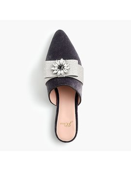 Pointed Toe Bow Slides In Velvet by J.Crew