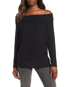 X Living In Yellow Mary Fleece Off The Shoulder Top by Gibson