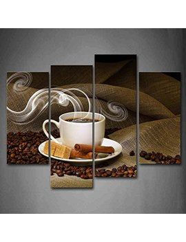 Firstwallart Brown A Cup Of Coffee And Coffee Bean Wall Art Painting Pictures Print On Canvas Food The Picture For Home Modern Decoration by Firstwallart