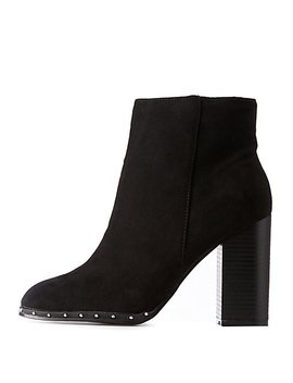 Bamboo Studded Faux Suede Bootie by Charlotte Russe