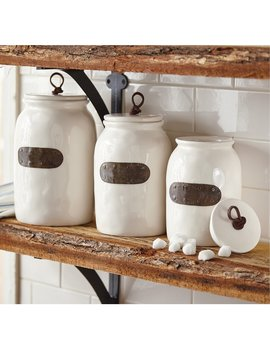 Farmhouse Bistro Ceramic Canisters With Bronze Plated Tags, Set Of 3 by Mud Pie