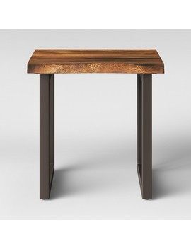 Thorald Wood Top End Table With Metal Legs Brown   Project 62™ by Project 62