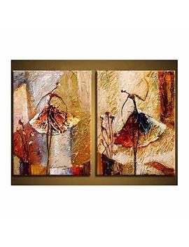 Wieco Art Ballet Dancers 2 Piece Modern Decorative Artwork 100 Percents Hand Painted Contemporary Abstract Oil Paintings On Canvas Wall Art Ready To Hang For Home Decoration Wall Decor by Wieco Art