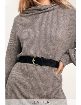 Atlas Black Suede Leather Belt by Lulus