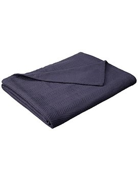 Superior 100 Percents Cotton Thermal Blanket, Soft And Breathable Cotton For All Seasons, Bed Blanket And Oversized Throw Blanket With Metro Herringbone Weave Pattern   King Size, Navy Blue by Superior