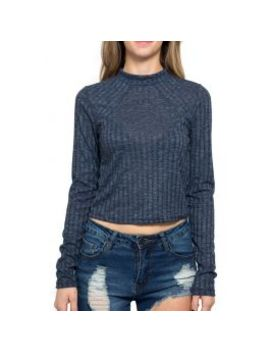 The Rib Knit Fitted Crop Top In Navy Blue by Tag Twenty Two