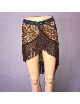90's Abs Allen Schwartz Denim Waist Silk Skirt W Fringe 29 Cute W Leggings by Abs By Allen Schwartz