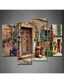 4 Panel Wall Art Streets Of Old Mediterranean Towns Flower Door Windows Painting The Picture Print On Canvas Architecture Pictures For Home Decor Decoration Stretched By Wooden Frame,Ready To Hang by Firstwallart