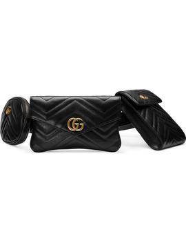 Gg Marmont 2.0 Matelassé Triple Pouch Leather Belt Bag by Gucci