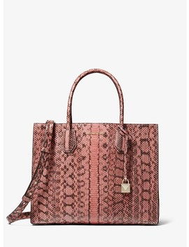 Mercer Large Snakeskin Tote by Michael Michael Kors