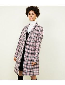 Pink Check Revere Collar Longline Coat by New Look