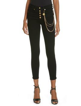 Debbie 10 Chain Belt High Waist Skinny Jeans by Veronica Beard