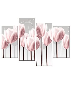 Floral Canvas Wall Art,Canvas Print Pink Tulips For Wall Decor, Framed And Stretched 4 Panels Elegant Flowers Canvas Prints (01 Pink Tulip) by Visual Art