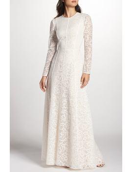 Sheer Sleeve Lace A Line Gown by Tadashi Shoji