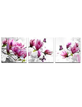 Cao Gen Decor Art Ah40233,Canvas Prints, Pink Flower 3 Panels Stretched Canvas Framed Wall Art by Cao Gen Decor Art