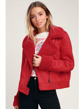 Sometimes Red Vegan Suede Sherpa Jacket by The Fifth Label