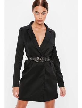 Black Western Belted Blazer Dress by Missguided