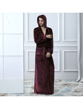 Men's Ladies Flannel Long Robe Hooded Bathrobe Towelling Bath Robe Dressing Gown by Unbranded