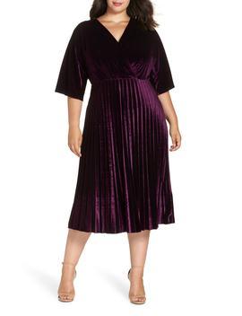 Pleated Velvet Dress by Maggy London