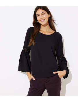 Lace Bell Sleeve Mixed Media Top by Loft