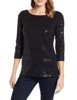 X Glam Squad Megan Sequin Embellished Scoop Back Top by Gibson