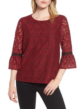 X Glam Squad Erin Allover Lace Bell Sleeve Top by Gibson