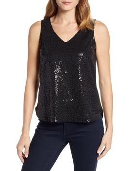 X Glam Squad Cassie V Neck Sequin Tank by Gibson