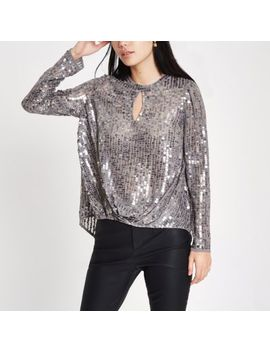 Grey Sequin Tuck Front Long Sleeve Top by River Island