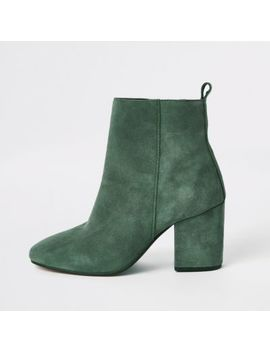 Green Leather Square Toe Boots by River Island