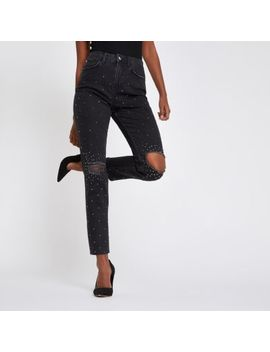 Black Casey Embellished Ripped Slim Fit Jeans by River Island