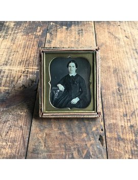 Daguerreotype Of A Woman Wearing Gold Rings, 19th Century Antique Photograph, Sixth Plate Daguerreotype In Half Case by Etsy