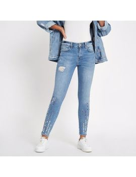 Blue Amelie Gemstone Mid Rise Skinny Jeans by River Island