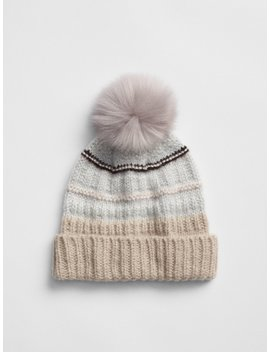 Metallic Mix Stitch Pom Pom Beanie by Gap