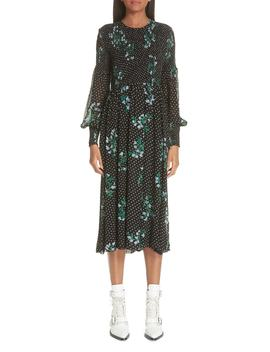 Rometty Floral Georgette Smocked Dress by Ganni