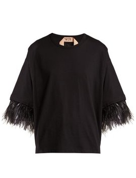 Feather Trimmed Short Sleeve Cotton T Shirt by No. 21