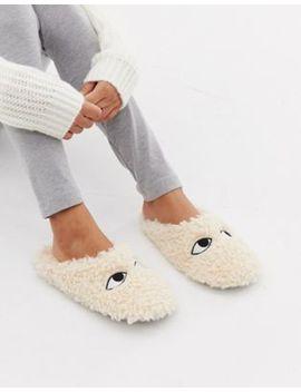 Monki Fluffy Slippers In Beige by Monki